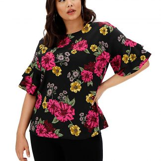 Berry Floral Fluted Sleeve Woven Top