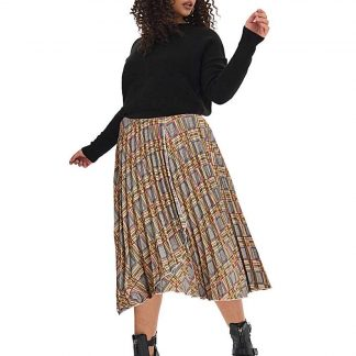 Check Wrap Front Pleat Midi Skirt