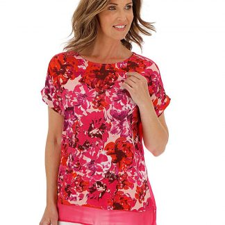 Julipa Coral Woven Front Jersey Top