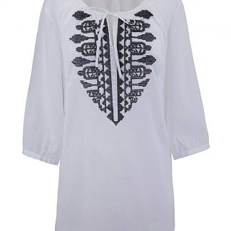 White Embroidered Gypsy Top