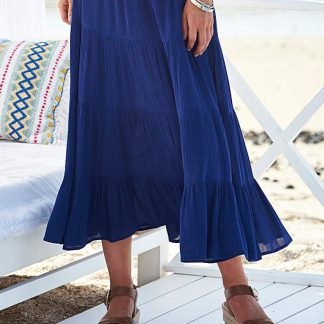 """French Navy Crinkle Tiered Skirt 32""""~""""~J D Williams~https://www.jdwilliams.co.uk/shop/French-Navy-Crinkle-Tiered-Skirt-32""""/XQ146/product/details/show.action?pdBoUid=2094&optionColour=French Navy&optionSize=10"""""""