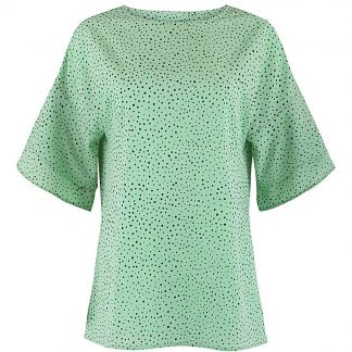 Spot Print Fluted Sleeve Boxy Top