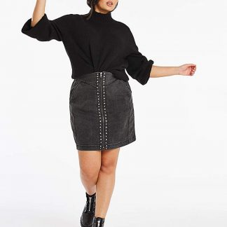Black Acid Wash Studded Denim Mini Skirt
