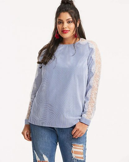 Blue Stripe Lace Panel Sleeve Top
