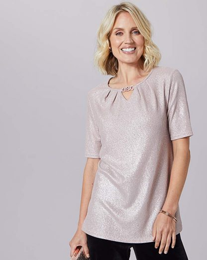Julipa Glitter Top With Trim Neck Detail