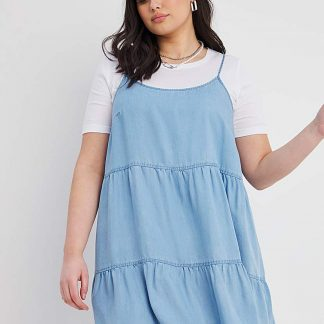 Blue Strappy Tiered Lyocell Smock Dress