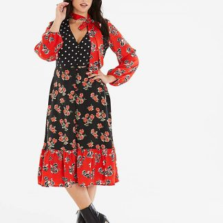 Neon Rose Spot and Floral Print Dress