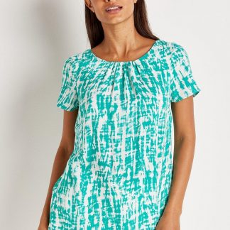 Turquoise Tie Dye Shell Top