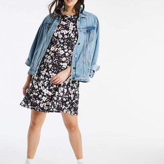 3/4 Sleeve White Floral Swing Dress