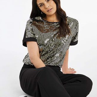 Black & Gold Sequin Boxy Top