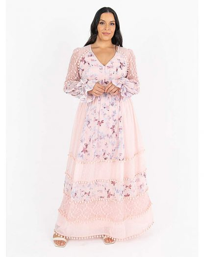 Lovedrobe Luxe Pink Floral Maxi Dress