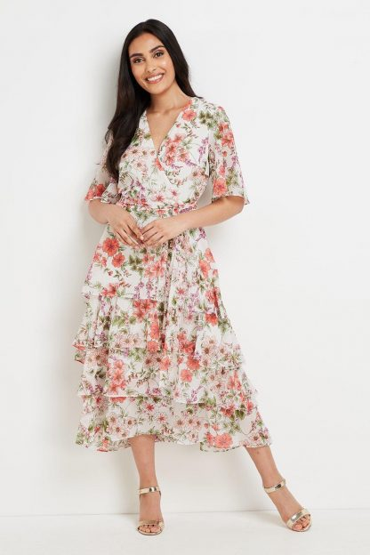 Petite Tiered Summer Floral Dress