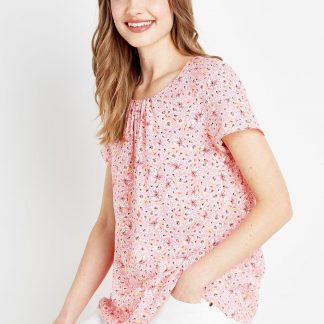 Pink Daisy Woven Shell Top