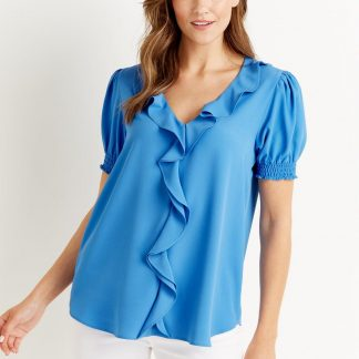 Ruffle Front Puff Sleeve Top