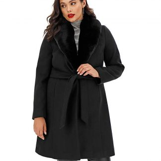 Black Belted Coat with Detachable Collar