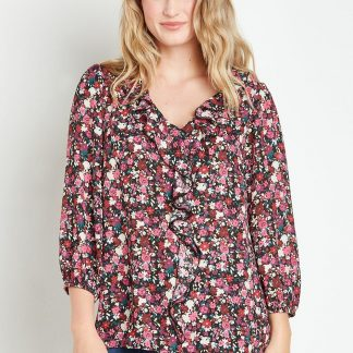 Floral Long Sleeve Ruffle Top
