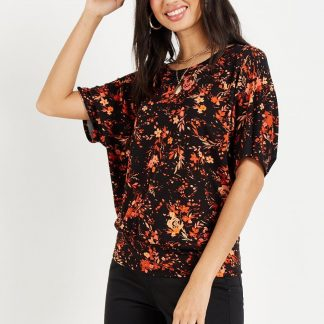 Petite Floral Jersey Banded Top