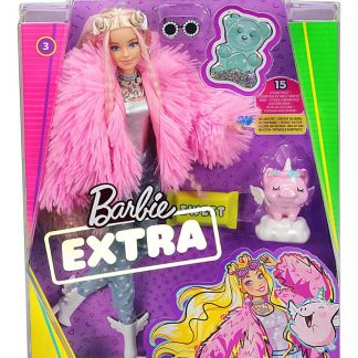 Barbie Extra Doll in Pink Fluffy Coat