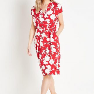 Petite Red Floral Jersey Wrap Dress